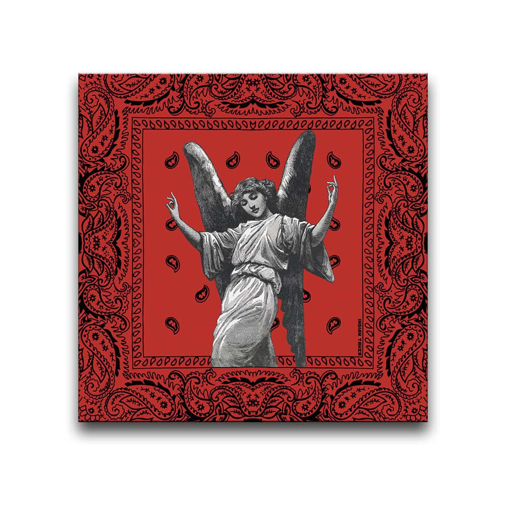 Canvas Wall Art featuring an image of a winged angel making gang signs in a printmaking style set against a red bandana background. Artwork by Indian Taker