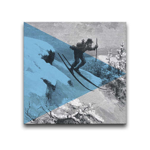 Canvas Wall Art featuring an engraved image of a suited man skiing illustrated in a printmaking style with a blue triangle overlay. Artwork by Indian Taker
