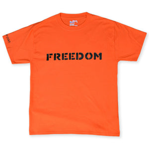 Orange And Black Freedom aka The Freedoms T-Shirt By Indian Taker for antipopcult.com