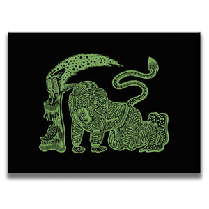 Canvas Wall Art featuring a graffiti and cartoon style image of a tired green runner with his tongue out set against a black background. Artwork by B.I./O.S.
