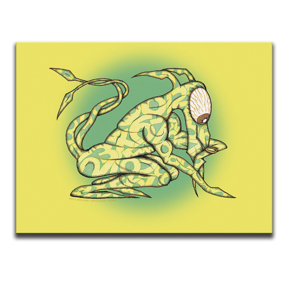 Canvas Wall Art featuring a cartoon image of a surreal one-eyed creature telling the time against a bright yellow and green background. Artwork by B.I./O.S.