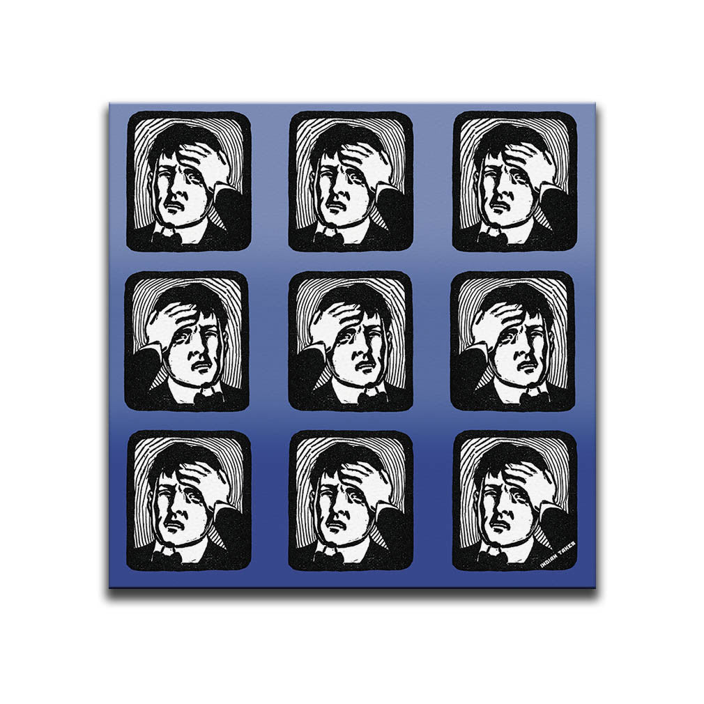 Canvas Wall Art featuring a repeated image of a man with a headache in a linocut or printmaking style set against a blue shaded background. Artwork by Indian Taker