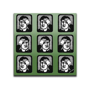 Canvas Wall Art featuring a repeated image of a man with a headache in a linocut or printmaking style set against a green shaded background. Artwork by Indian Taker