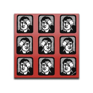 Canvas Wall Art featuring a repeated image of a man with a headache in a linocut or printmaking style set against a red shaded background. Artwork by Indian Taker
