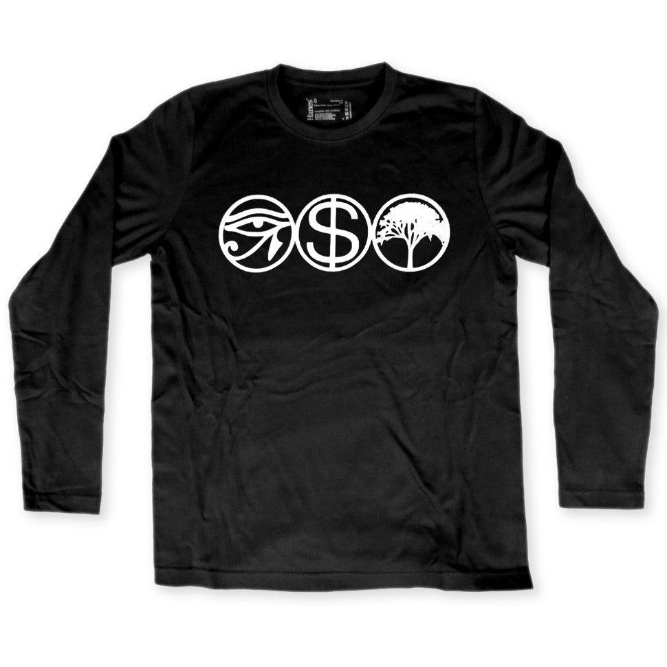 Idolatry black long sleeve t shirt features an egyptian eye a dollar sign and a tree logo surrounded by circles by Broken Babies on antipopcult.com