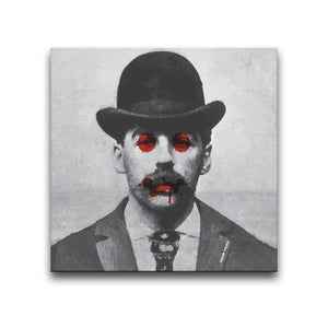 Canvas Wall Art featuring a black and white image of serial killer H.H. Holmes with blood splatters on his eyes and mouth. Artwork by Indian Taker