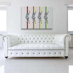 Clowns With Knives Canvas shown on a wall in a white room with sofa