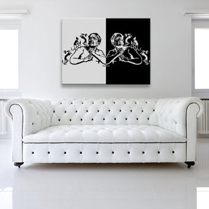 Devilish Aches Canvas shown on a wall in a white room with sofa