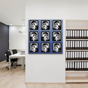 Headaches In Blue Canvas shown on an office wall