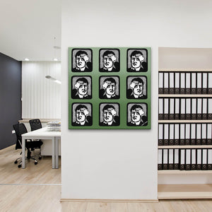 Headaches In Green Canvas shown on an office wall
