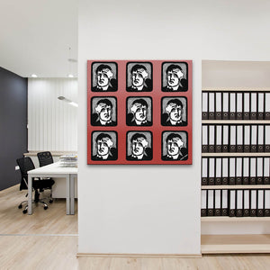 Headaches In Red Canvas shown on an office wall
