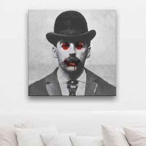 In Your Face Holmes Canvas on wall in a room with cushions