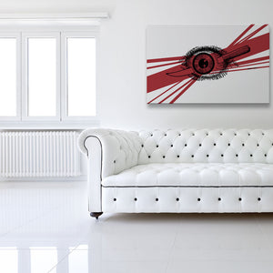 Major Eye Ache Canvas shown hung on a wall in a white room with sofa