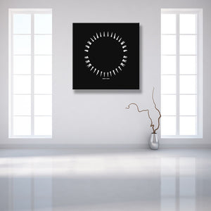 Open Wide Black And White Square Canvas shown on a wall in a white contemporary room