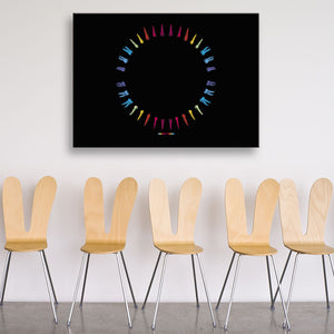 Open Wide Multicoloured Rectangular Canvas shown on a wall in a room with chairs