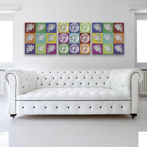 Silent Angels Canvas Wall Art Triptych shown on wall in a white room