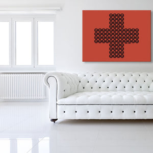 Skulls When They're Cross Red Canvas shown on a wall in a white modern room