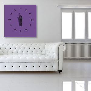 Wizard Of The Twelve Signs Purple Canvas shown on a wall in a room with sofa