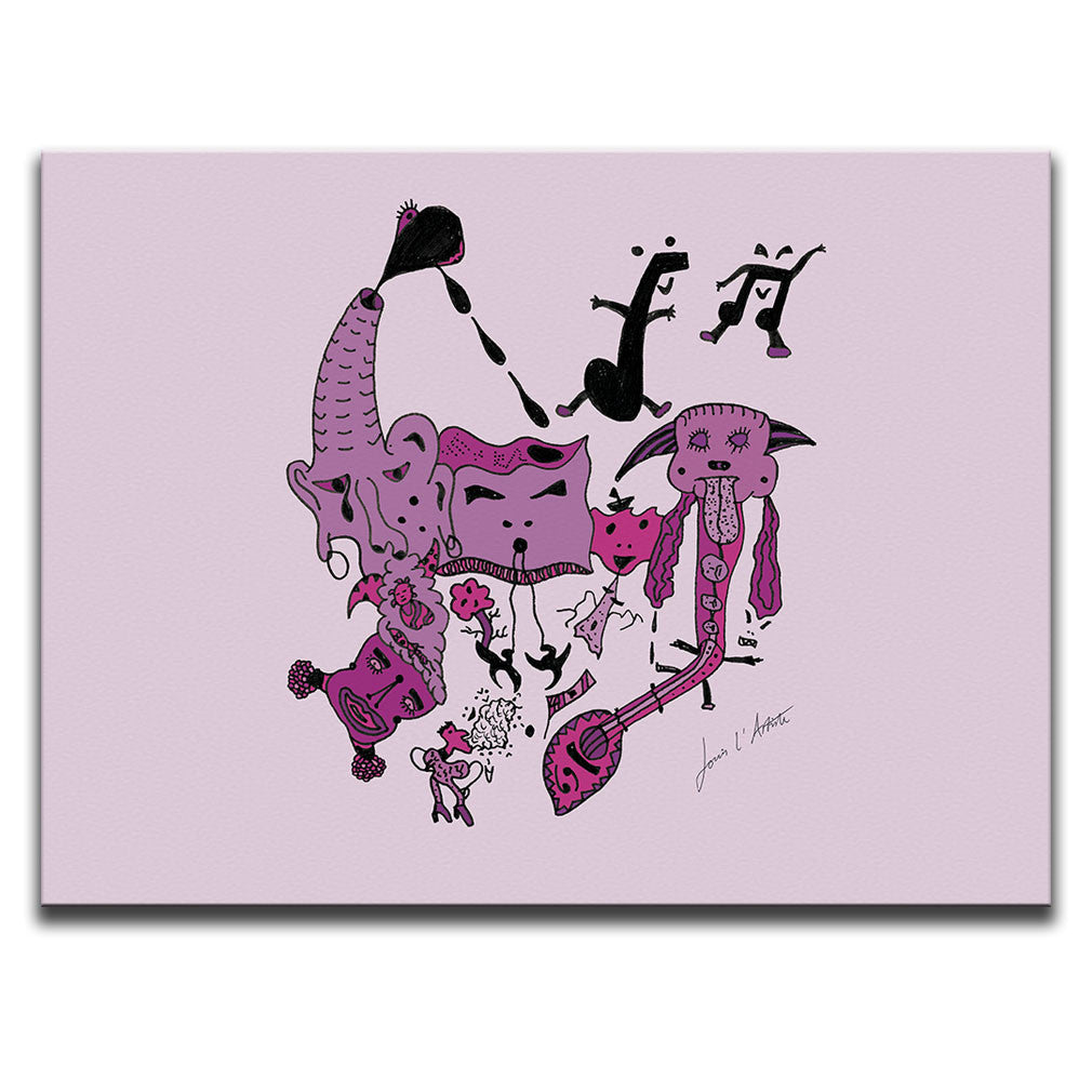 Canvas Wall Art featuring a surreal image of a party with guitars and musical symbols drawn in a surrealist style using hues and tones of the colour pink. Artwork by Louis l'Artiste