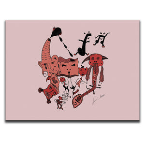 Canvas Wall Art featuring a surreal image of a party with guitars and musical symbols drawn in a surrealist style using hues and tones of the colour red. Artwork by Louis l'Artiste
