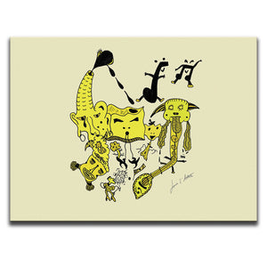 Canvas Wall Art featuring a surreal image of a party with guitars and musical symbols drawn in a surrealist style using hues and tones of the colour yellow. Artwork by Louis l'Artiste
