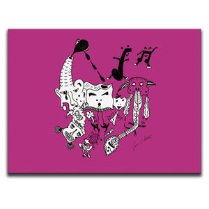 Canvas Wall Art featuring a surreal image of a party with guitars and musical symbols drawn in a surrealist style using the colour pink. Artwork by Louis l'Artiste