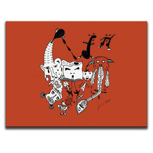 Canvas Wall Art featuring a surreal image of a party with guitars and musical symbols drawn in a surrealist style using the colour red. Artwork by Louis l'Artiste