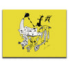 Canvas Wall Art featuring a surreal image of a party with guitars and musical symbols drawn in a surrealist style using the colour yellow. Artwork by Louis l'Artiste