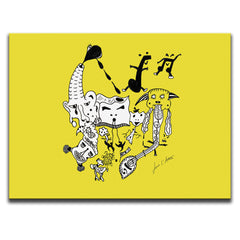 Let The Music Play Wall Art - Solid Yellow Version