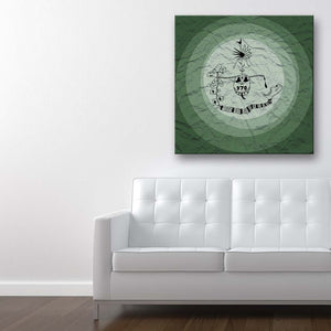 Addiction Green Canvas Art shown on a wall in a contemporary room with sofa