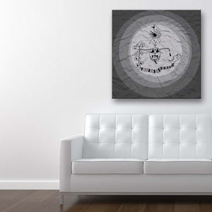 Addiction Grey Canvas Art shown on a wall in a contemporary room with sofa