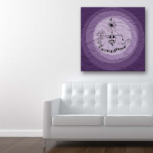 Addiction Purple Canvas Art shown on a wall in a contemporary room with sofa