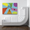 Attachment Blue Canvas Art shown on a wall in a white room with a surreal sofa