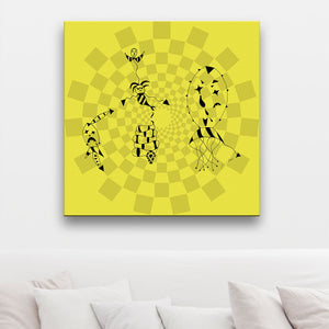 Death At A Circus Yellow Canvas Art shown on a wall in a room with a sofa and cushions