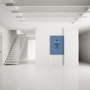 Don't Shout Blue Canvas Art shown on a wall in a modern minimalist room