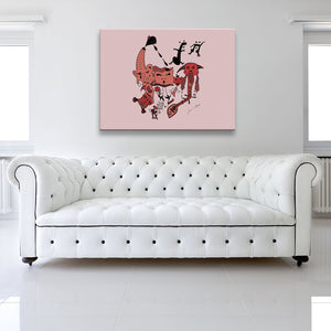 Shaded version of Let The Music Play Red Canvas Art shown on a wall in a white room with sofa