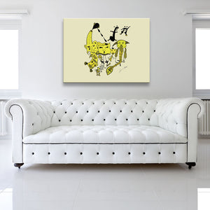 Shaded version of Let The Music Play Yellow Canvas Art shown on a wall in a white room with sofa