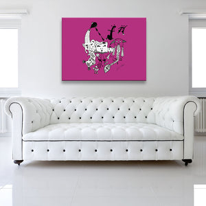 Solid colour version of Let The Music Play Pink Canvas Art shown on a wall in a white room with sofa