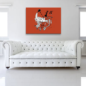 Solid colour version of Let The Music Play Red Canvas Art shown on a wall in a white room with sofa