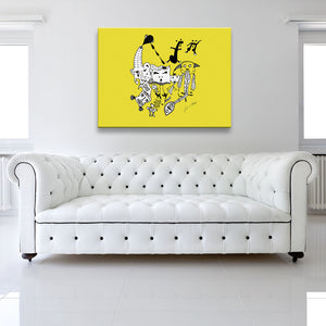 Solid colour version of Let The Music Play Yellow Canvas Art shown on a wall in a white room with sofa