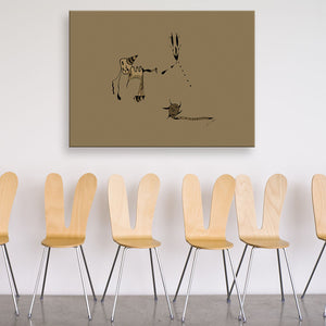 Nightmares Brown Canvas Art shown on a wall in a room with chairs