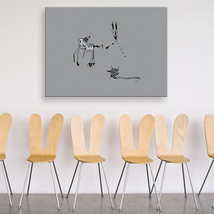 Nightmares Grey Canvas Art shown on a wall in a room with chairs