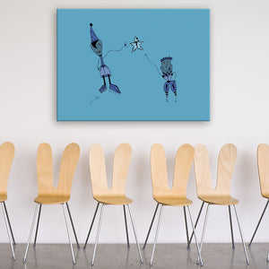 Question Blue Canvas Art shown on a wall in a room with chairs