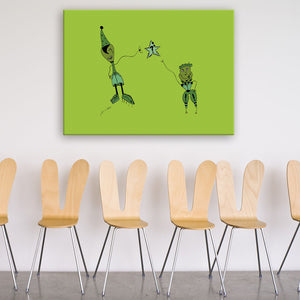Question Green Canvas Art shown on a wall in a room with chairs