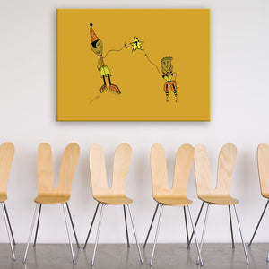 Question Orange & Yellow Canvas Art shown on a wall in a room with chairs