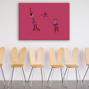 Question Pink Canvas Art shown on a wall in a room with chairs