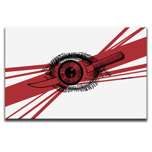 Canvas Wall Art featuring a linocut illustration of a knife piercing an eye set against a red diagonally striped background. Artwork by Indian Taker