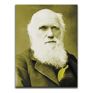 Canvas Wall Art featuring a yellow and sepia image of Charles Darwin with a banana hidden in his suit. Artwork by Indian Taker