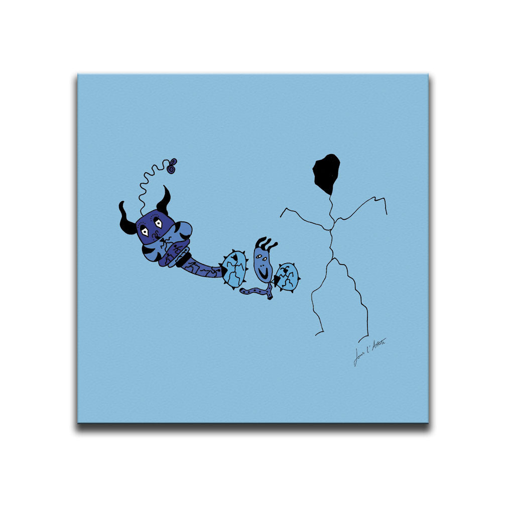 Canvas Wall Art featuring a surreal image of a hatching egg and a guardian of souls drawn in a surrealist style using the colour blue to represent the birth of a baby boy. Artwork by Louis l'Artiste