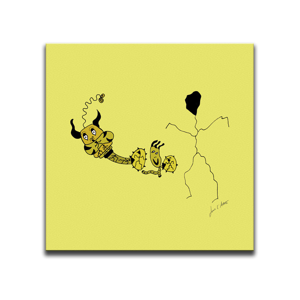 Canvas Wall Art featuring a surreal image of a hatching egg and a guardian of souls drawn in a surrealist style using the colour yellow. Artwork by Louis l'Artiste